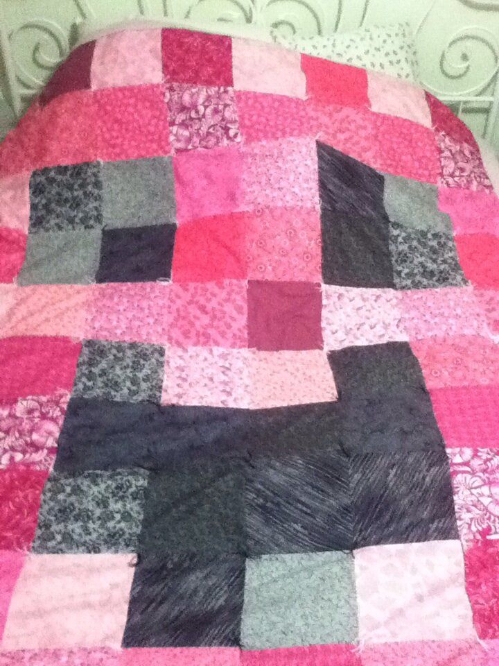 Tisha wanted a creeper quilt, only pink, and happy.