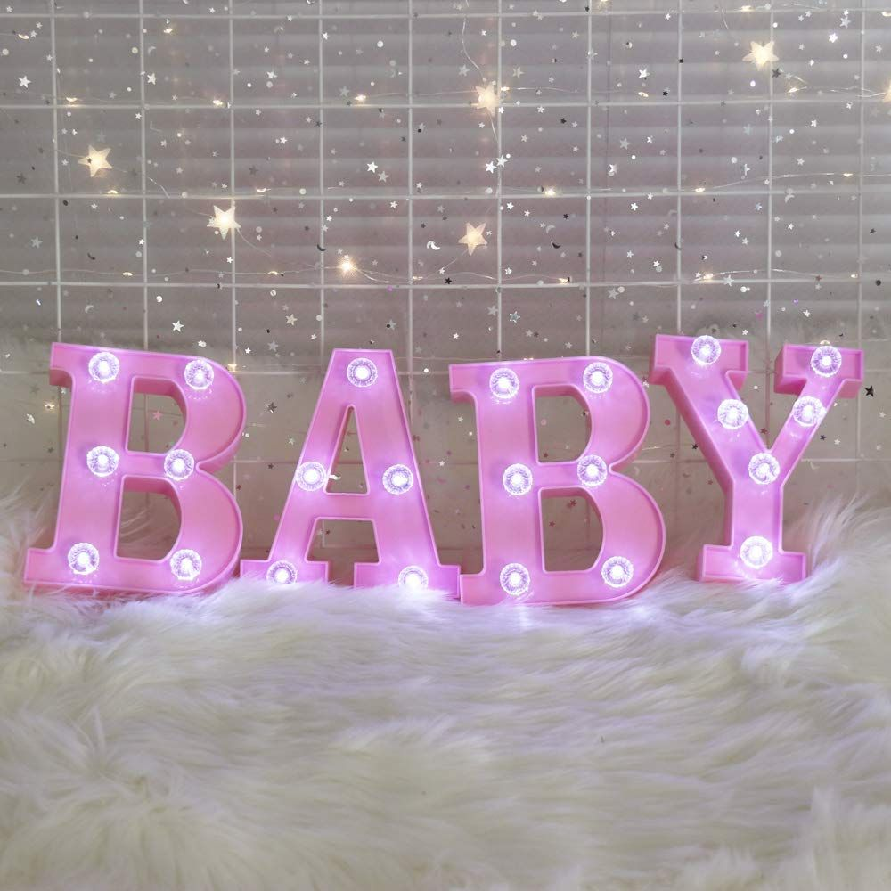 Pooqla Decorative Illuminated Marquee Baby Word Sign with Diamond ...