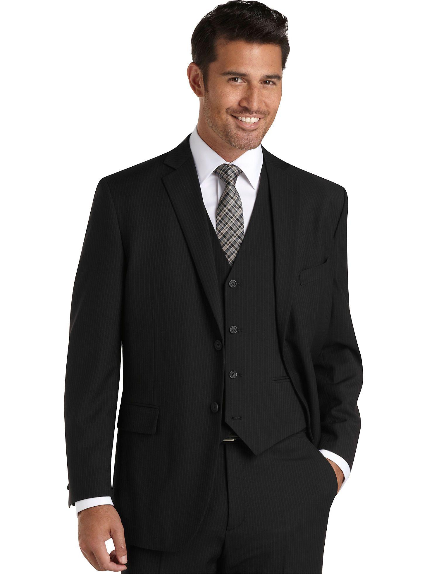 Suits Wilke Rodriguez Black Stripe Vested Modern Fit