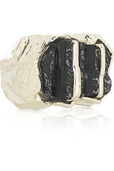 Roberto Cavalli  Gold-plated brass and pyrite ring