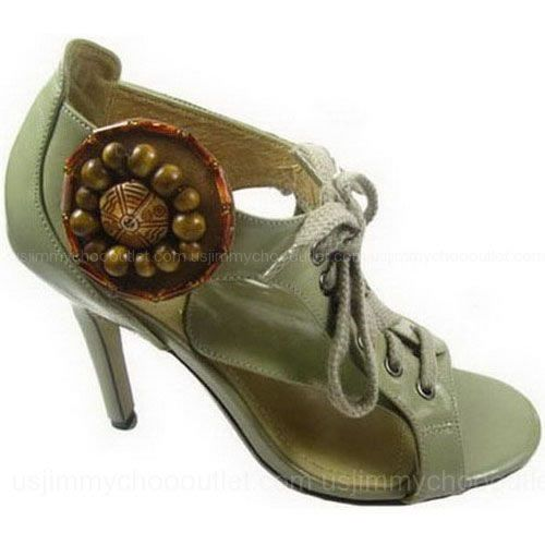 YSL Sandals Yves Saint Laurent Lace Up With Jeweled Medallion -$155
