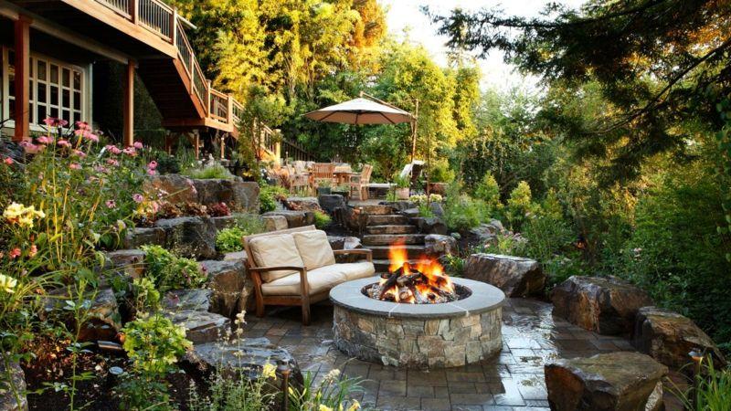 Durch Den Hang Scheint Die Terrasse In Den Boden Eingelassen Zu Sein Gartengestaltung Garten Am Hang Garten