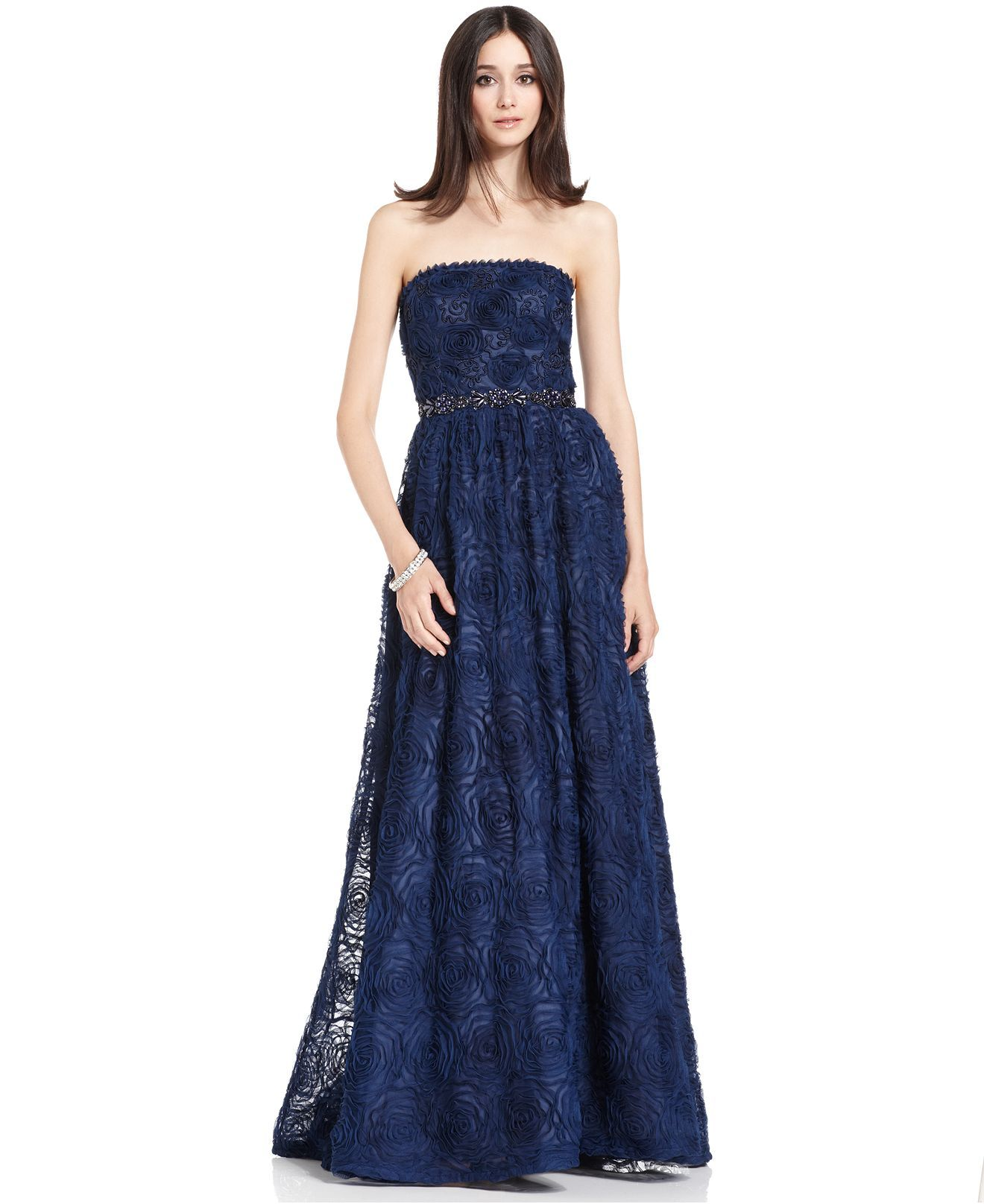 Adrianna Papell Dress Strapless Beaded Ball Gown