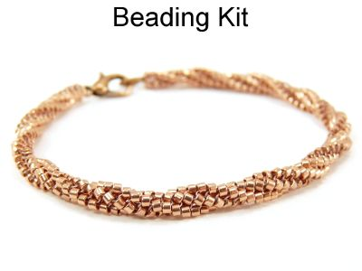 Slightly Twisted Herringbone Stitch Beaded Bracelet Jewelry Making Beading Kit Pattern Tutorial