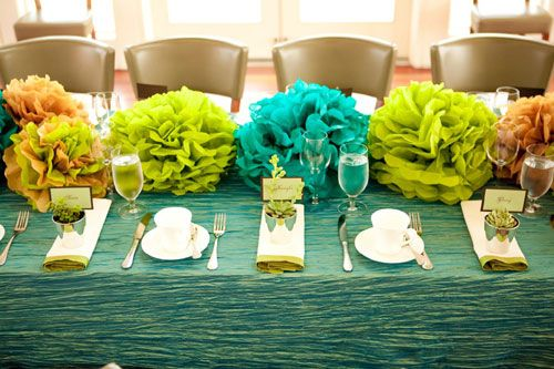 Real Baby Shower: Teal and Green Tissue Pom Masterpiece