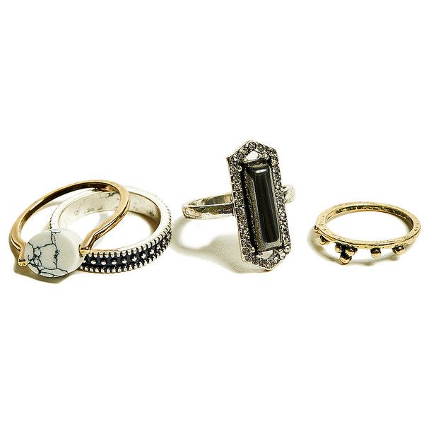 GUESS Janis Midi Ring Set (82 BRL) ❤ liked on Polyvore featuring jewelry, rings, rhinestone rings, midi rings jewelry, marble jewelry, top finger rings and mid knuckle rings