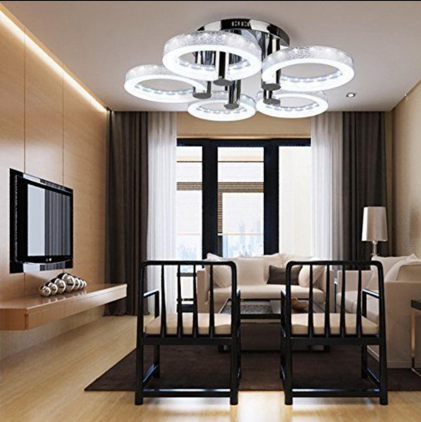 European Modern Round Acrylic Chandelier Ceiling Pendant Light 5 18w Led Lamp Bp Led Living Room Lights Living Room Lighting Ceiling Lights