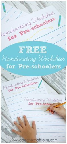 Encourage summer lea     Encourage summer learning with these FREE Handwriting Worksheets for Pre-schoolers!  Available at  createcraftlove.com !  https://www.pinterest.com/pin/115334440432421527/