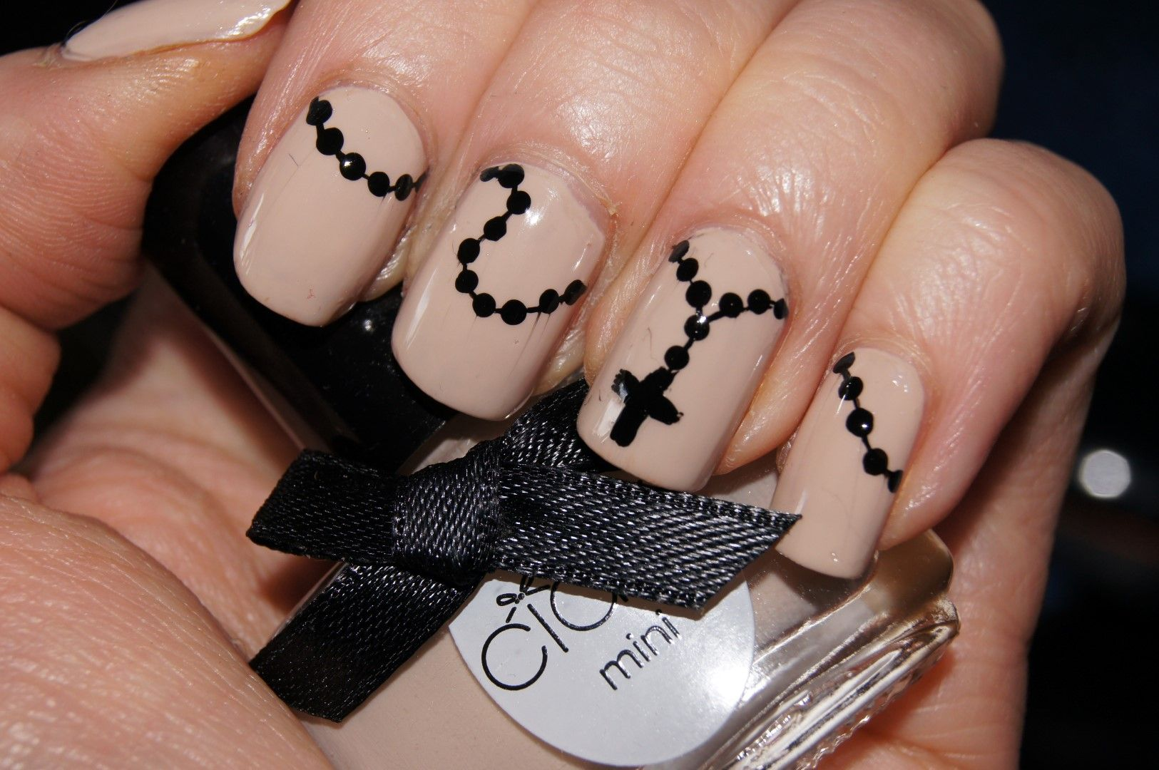 Rosary nails black n beige by johanna v. | Nails | Pinterest ...
