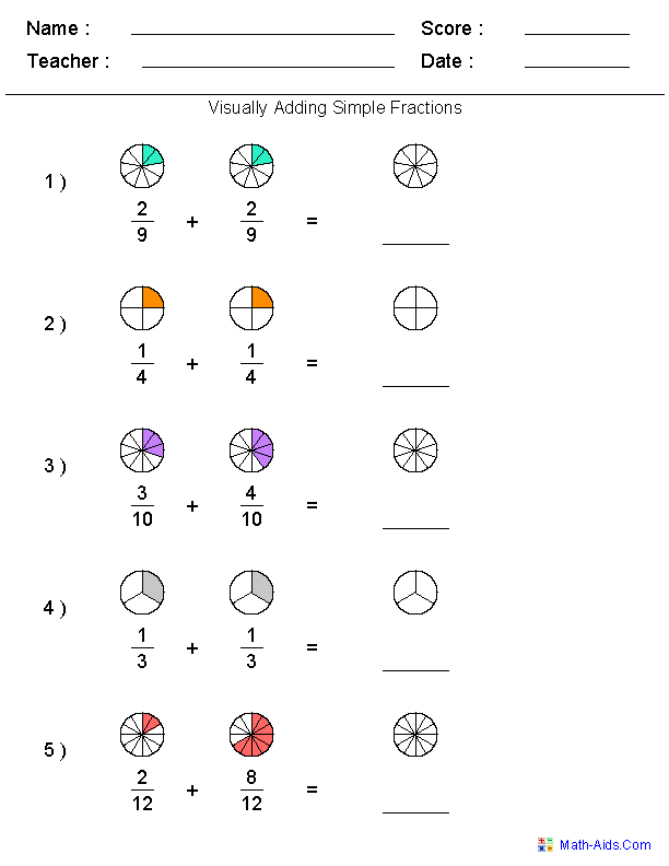 Fractions Worksheets – Fractions Worksheets for Class 5