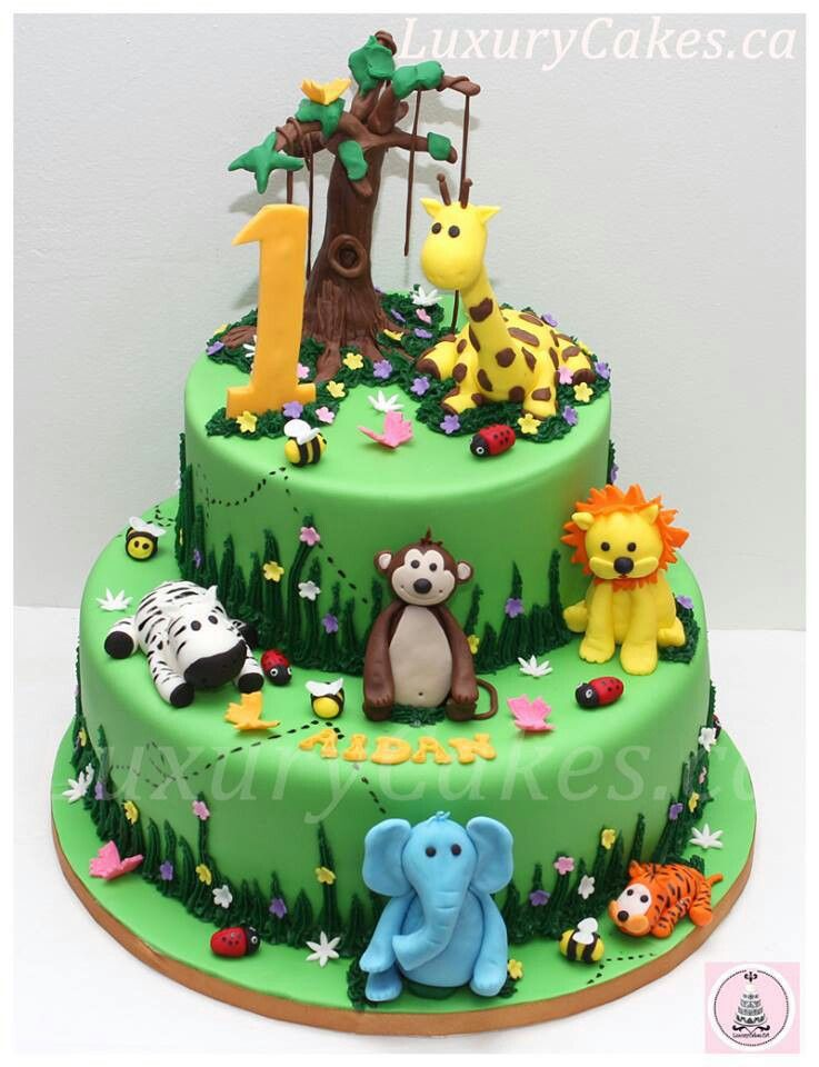 Cute Jungle Animal Cake