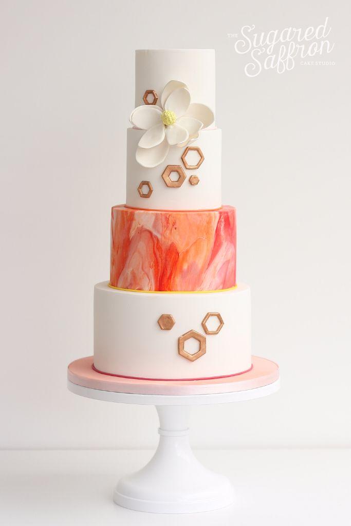Magnolia And Marbled Orange Wedding Cake By Sugared Saffron Studio In London