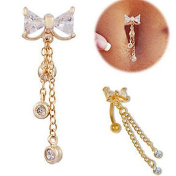 Gold Reverse Belly On Ring Dangle Body Navel Bar Clear Bow Jewelry Piercing