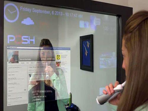 Le miroir qui fonctionne comme une interface tactile g ante high tech futur miroir - Miroir salle de bain connecte ...