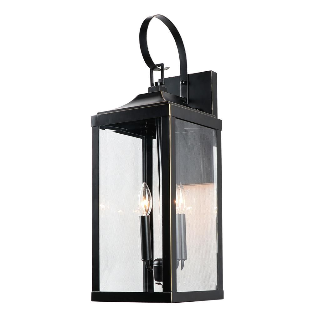 Unbranded 2 Light 25 In Outdoor Wall Lantern Sconce In Imperial Black El180708 Mw The Home Depot Wall Lantern Outdoor Light Fixtures Exterior Wall Light