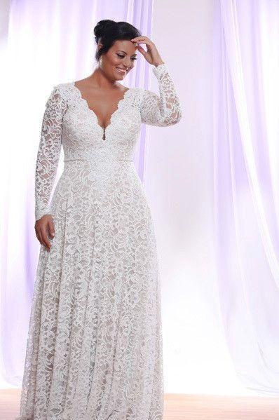 Long Sleeve Plus size Lace Wedding Dress #WeddingPhotography ...