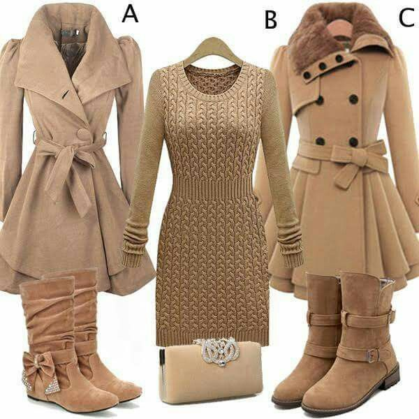 Love coat A......and the dress but it needs kickass  heeled boots