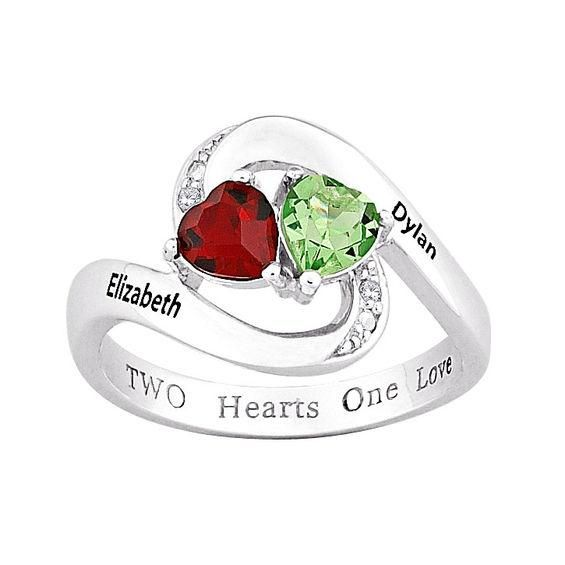 Zales Couples Marquise Simulated Birthstone and diamond accent Bypass Ring in Sterling Silver (2 Stones and Names) GJ3eMB