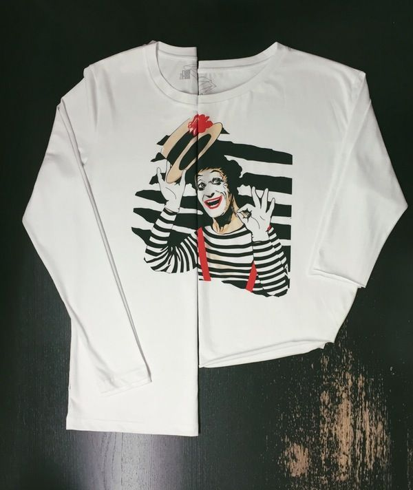 "Image of Men's and women's T-shirts with  printed ""Marcel Marceau""."