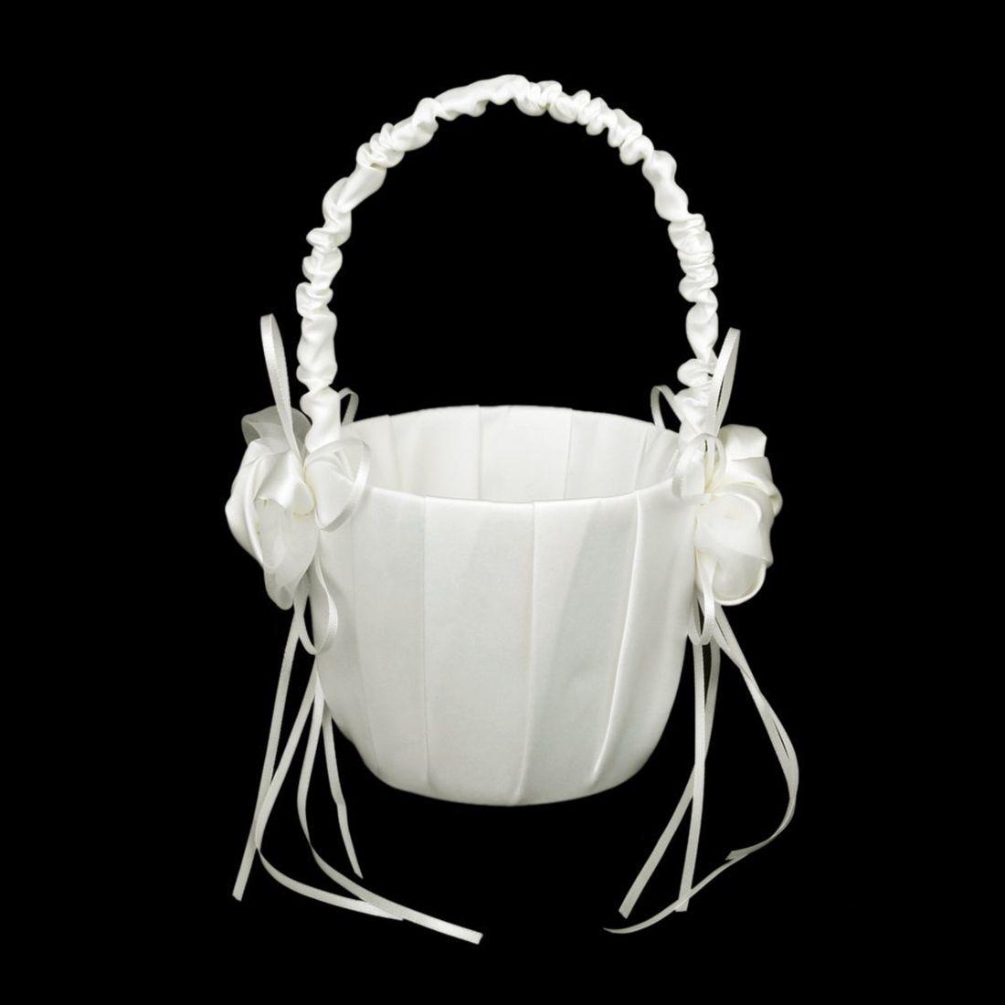 Satin Wedding Flower Basket Ornate Of Buds For Wedding White