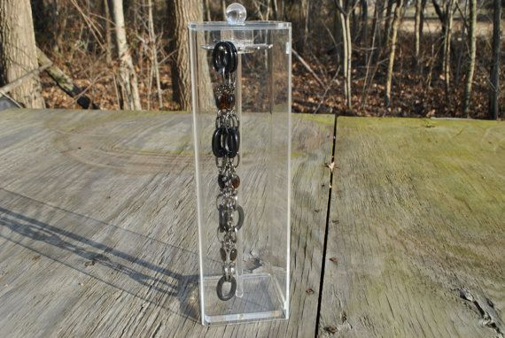Vintage Clear Lucite Jewelry Box Necklace Holder Stand