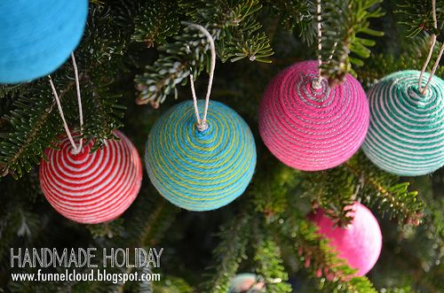 handmade holiday | yarn ball ornaments by funnelcloud rachel, via Flickr