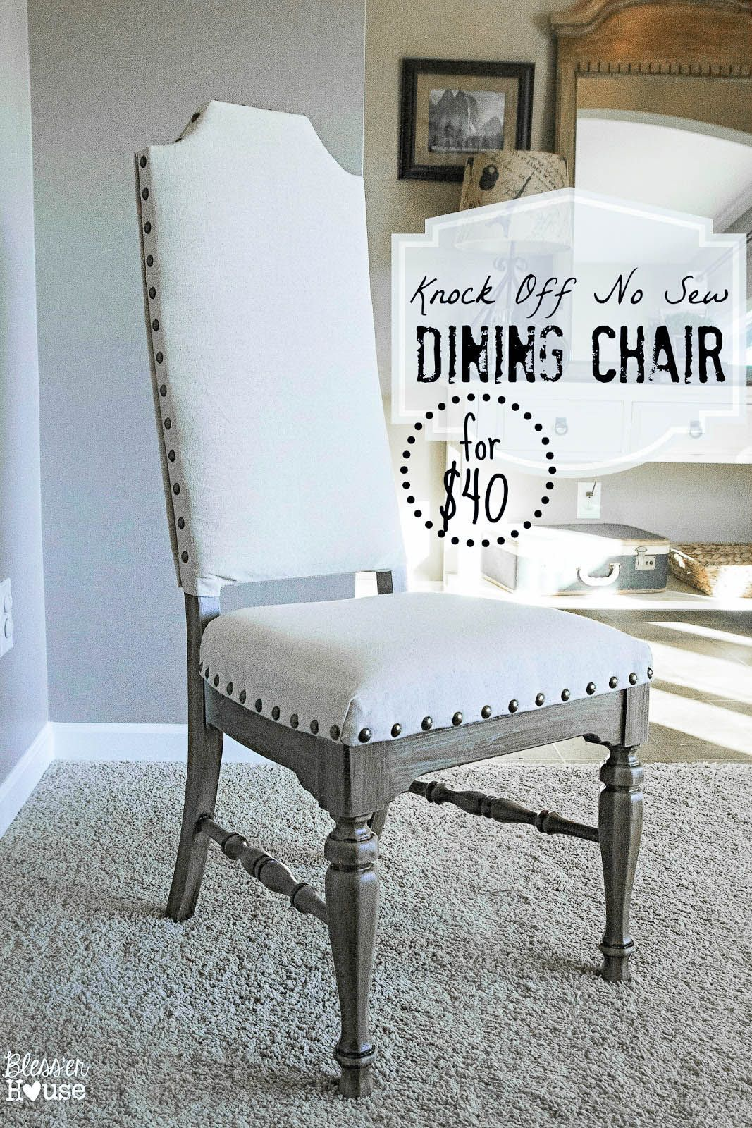 Knock Off No Sew Dining Chairs | Diy möbel, Stuhl und Lustiges