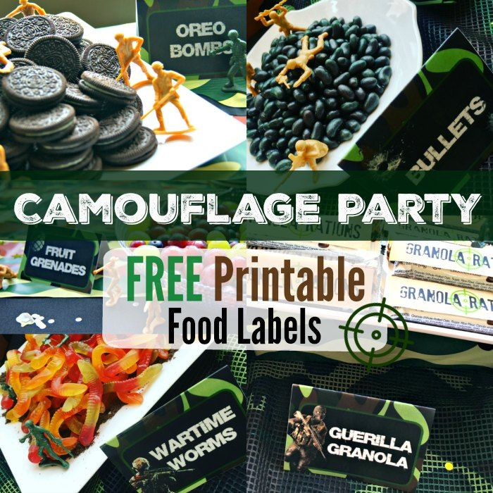 Free Printable Food Labels Camouflage Military Army Camo Kids