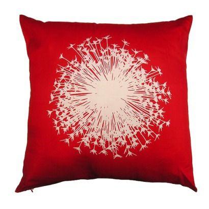 Red dandelion pillow