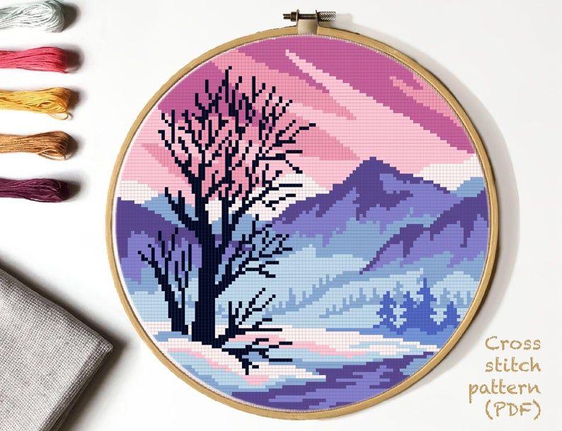 Winter Landscape Modern Cross Stitch Pattern, nature counted cross stitch chart, mountain cross stitch , embroidery, INSTANT DOWNLOAD PDF