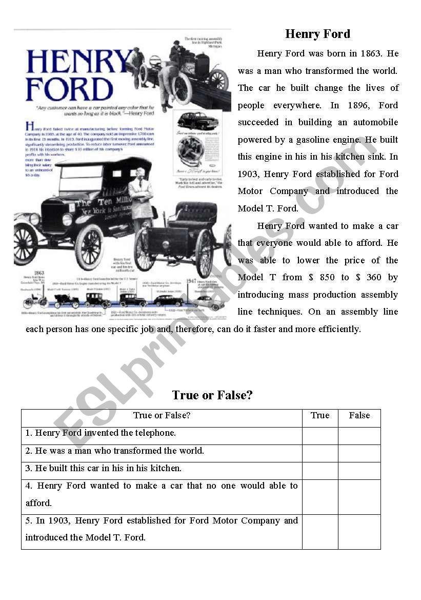 Henry Ford Worksheet Reading Comprehension Worksheets Reading Worksheets Reading Comprehension [ 1169 x 821 Pixel ]