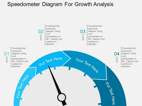 speedometer diagram for growth analysis powerpoint template | good, Modern powerpoint