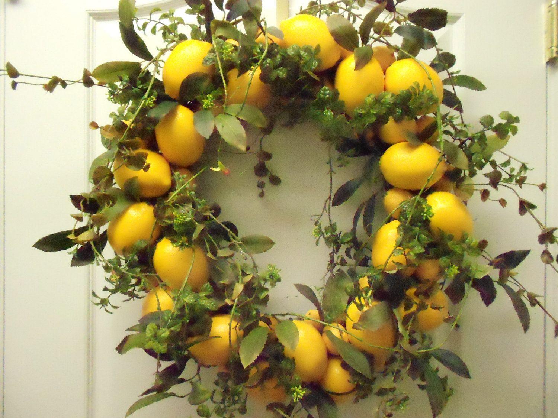 Lemon Wreath Lemon Decor Colorful Decor Beautiful Wreath