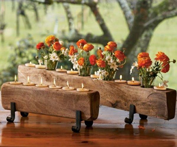 Tischdeko holz rustikal  Garten Tisch Herbst Deko Blumen | Deko | Pinterest | Deko blumen ...