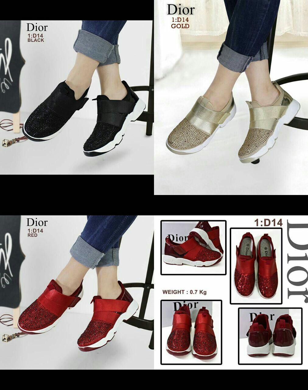Sepatu Merek Dior Seri D14 Kualitas Sempren Warna Red Gold