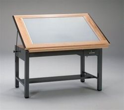 Professional Lighted Top Drafting Table With Metal From For Sale