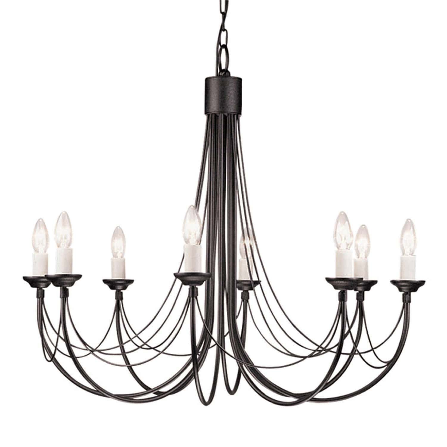 Elstead Carisbrooke 8 Light Black Candle Chandelier Black Candle