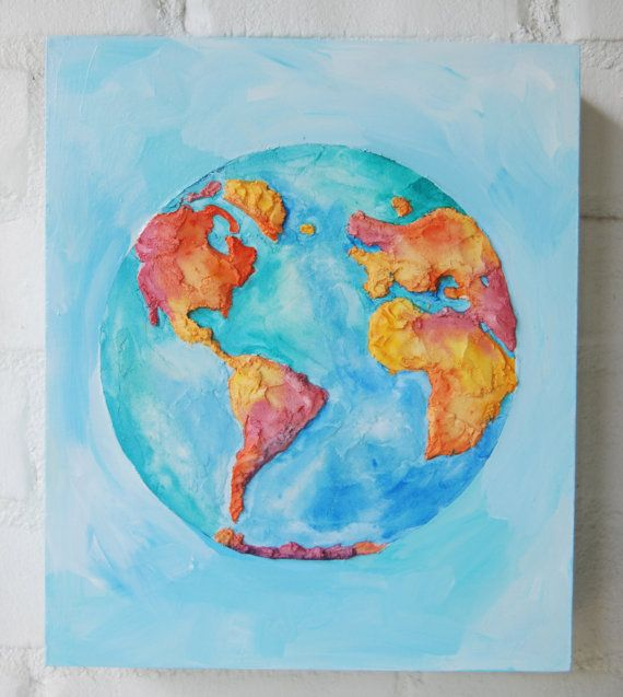 D World Map Painting World Map Art Colorful World Art Sarah - Colorful world map painting