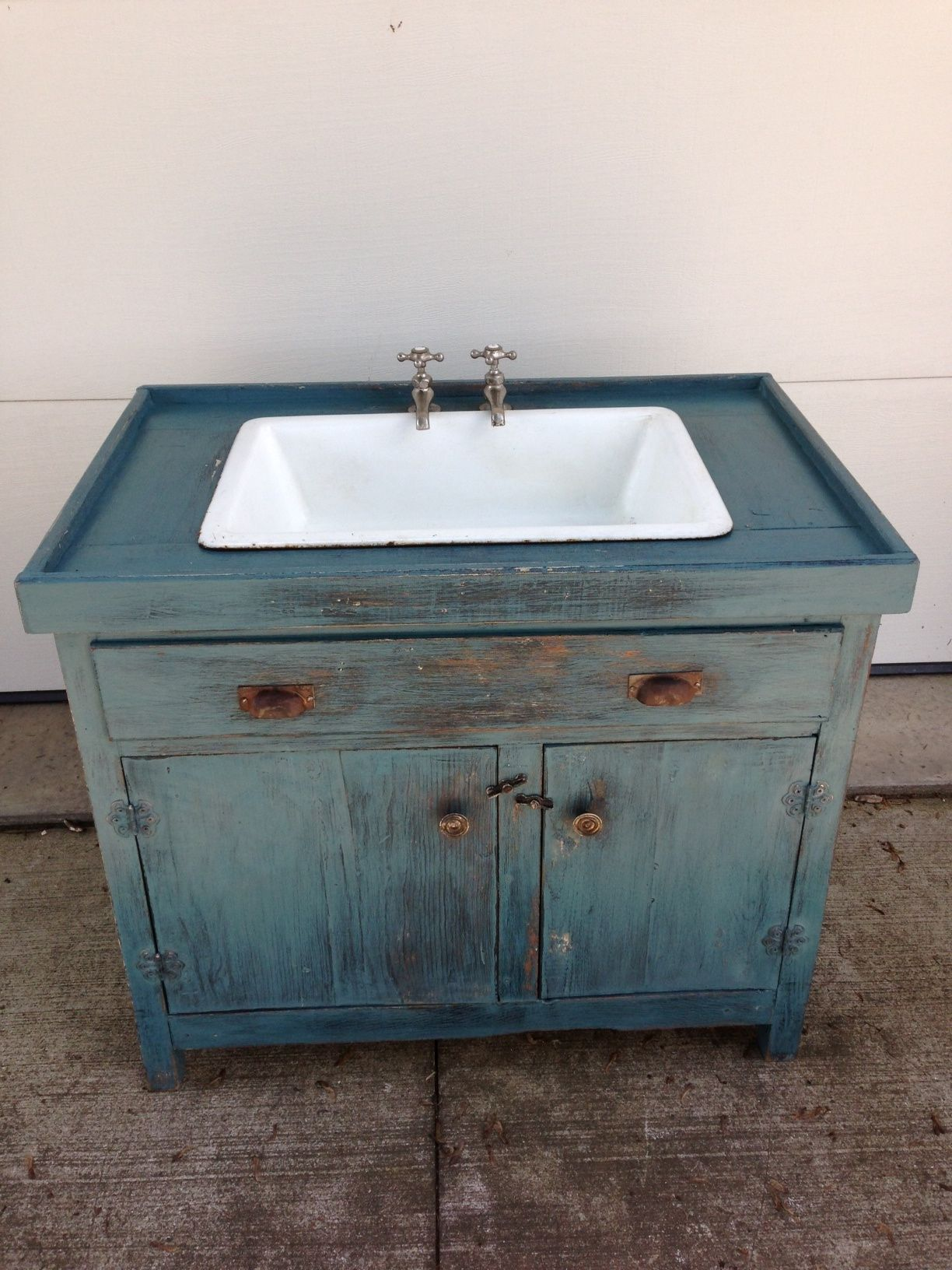 Base Cabinet Converted To A Dry Sink With A Porcelain Sink And Faucets Added Primitive Bathrooms Bathroom Dry Sink