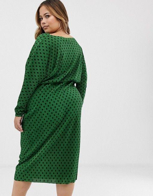 289948400932 DESIGN Curve polka dot slash neck batwing plisse midi dress in 2019 ...