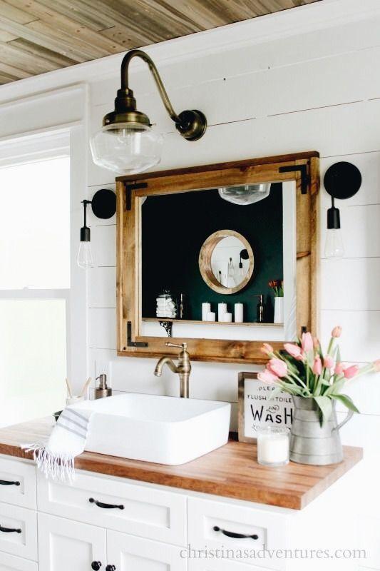 Pin By Katie Cunningham On Home White Vanity Bathroom Modern Farmhouse Bathroom Home Decor