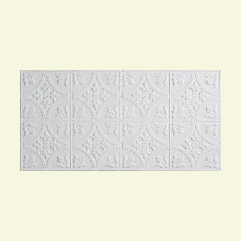 Fasade Traditional Style 2 2 Ft X 4 Ft Glue Up Pvc Ceiling Tile In Gloss White G51 00 The Home Depot Pvc Ceiling Tiles Ceiling Tile Plastic Ceiling