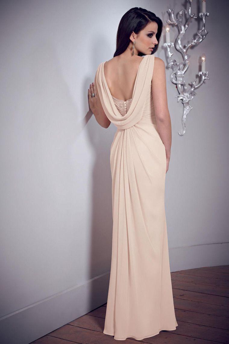 2014 Elegant Prom Dresses Sheath Cowl Neck Floor Length Chiffon ...