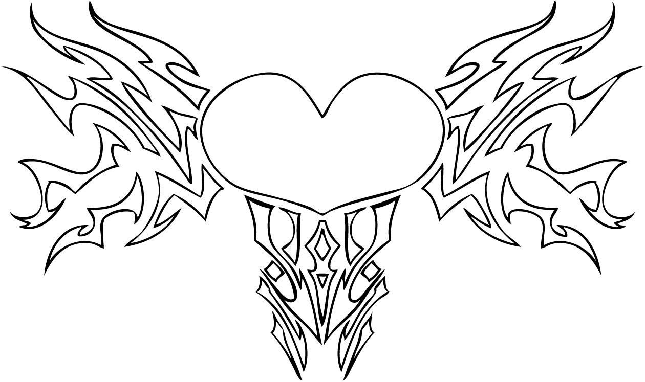 Free Printable Heart Coloring Pages For Kids With Wings