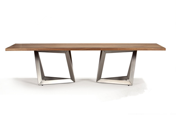 Wooden Top Metal Leg Dining Table Simple Modern Design