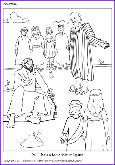 Coloring paul heals a lame man kids korner biblewise for Peter and john heal the lame man coloring page