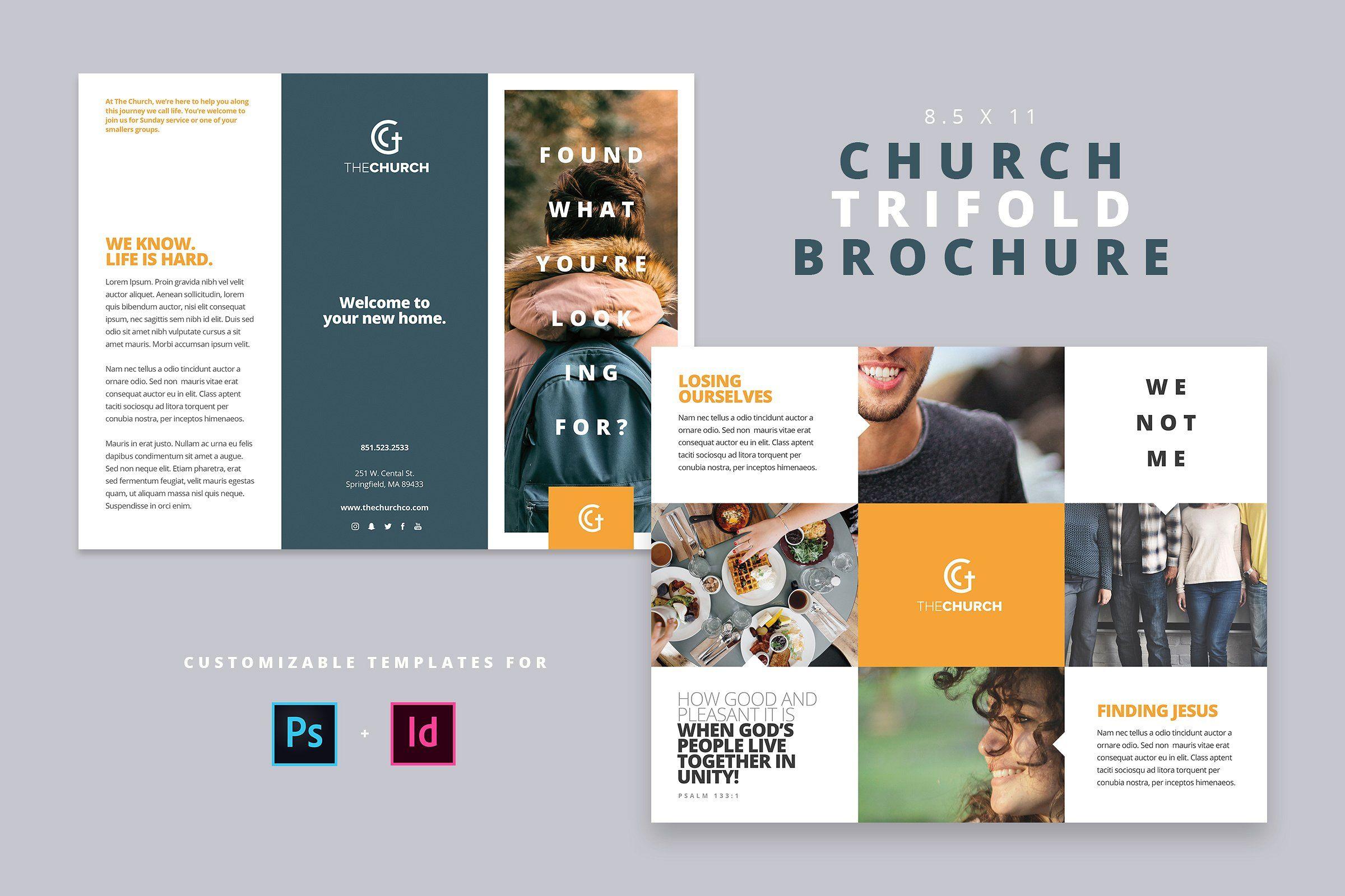 Modern Church Trifold Brochure Church Brochures Trifold