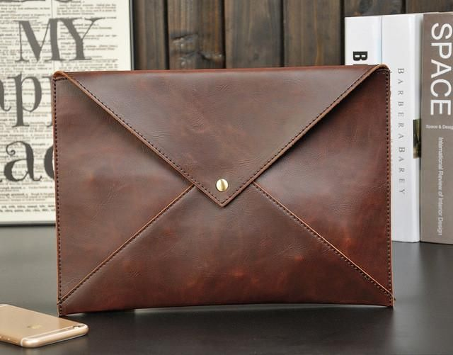Leather Men's Envelope Daily Cluth Bag Crossbody Shoulder Bags Tablet PC