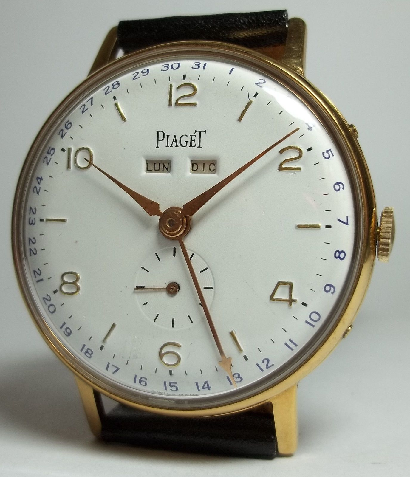 4d0cc92db46 Piaget triple date manual wind man s vintage watch oversized 37mm ...