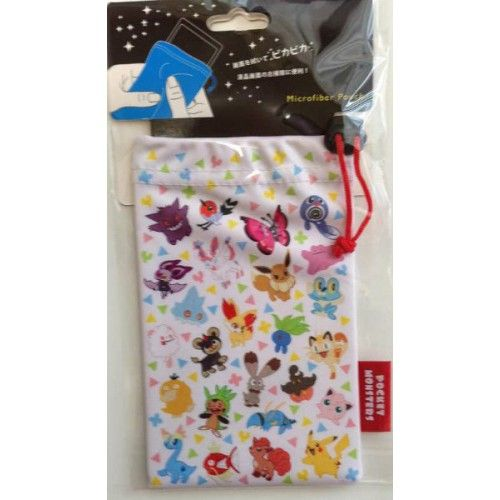 Pokemon Center 2014 Eevee Sylveon Vulpix Mew Tyrunt & Friends Micro Fiber Mobile Phone Pouch
